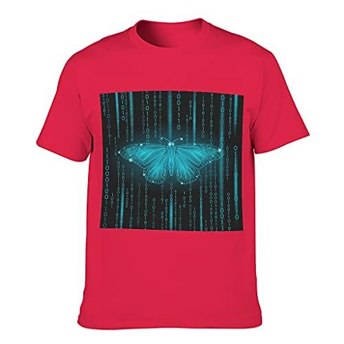 Camiseta de algodón para hombre con diseño de mariposa Red1 L
