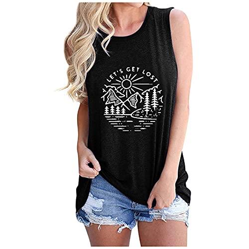hainJS - Camiseta sin mangas para mujer, para verano, deporte, fitness, yoga, correr, entrenamiento, camisetas básicas Negro Small/Medium