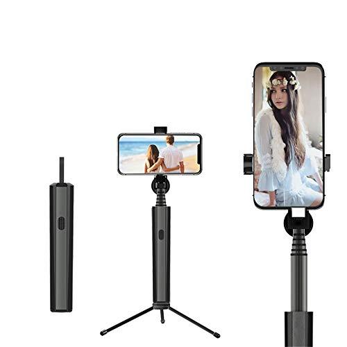 MHCYKJ Bluetooth Selfie Stick per iPhone Android Huawei Mini Pieghevole in Alluminio Portatile Selfie Stick per Smartphone,Nero