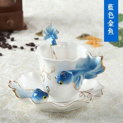 WXCL Set piattino e Cucchiaio per Tazza da caffè in Smalto smaltato Fatto a Mano Set Tazza e piattino Tazza da tè in Porcellana Regalo di San Valentino, Blu