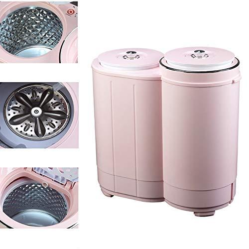 QHGao Mini Poderosa Deshidratación Máquina Portátil De Lavado Automático, Doble Lavadora Secadora De Ropa, Potente Rotación Cíclica, Compacta Máquina De Lavado Doble Bañera