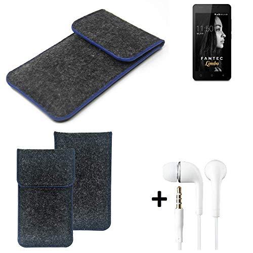 K-S-Trade Filz Schutz Hülle Für FANTEC Limbo Schutzhülle Filztasche Pouch Tasche Handyhülle Filzhülle Dunkelgrau, Blauer Rand Rand + Kopfhörer