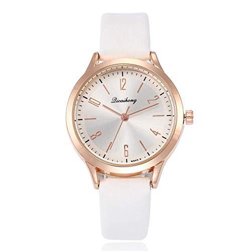 Fliyeong - Reloj analógico de Cuarzo para Mujer, diseño de números arábigos, para la Escuela, Compras, Elegante y Popular