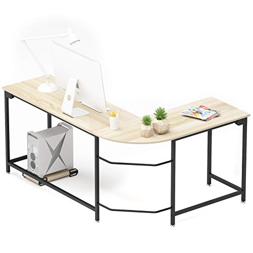 Teraves Modern L-Shaped Desk Corner Computer Desk Home Office Study Workstation Wood & Steel PC Laptop Gaming Table