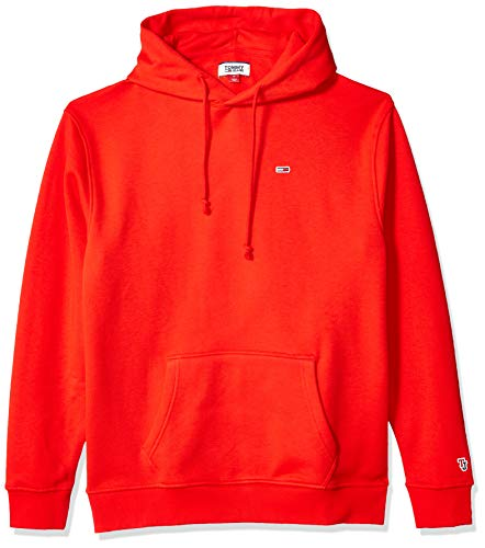 Tommy Jeans Men's Hoodie Sweatshirt Classics Collection, Flame Scarlet, LG