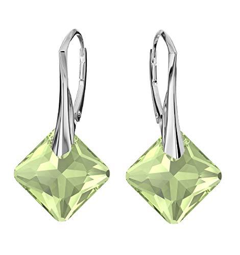 **Beforya Paris** - Princess Cut - Ohrringe - Farben Varianten !! - Silber 925 Schön Damen Ohrringe mit Kristallen von Swarovski - Wunderbare Ohrringe mit Geschenkbox PIN/75 (Peridot)