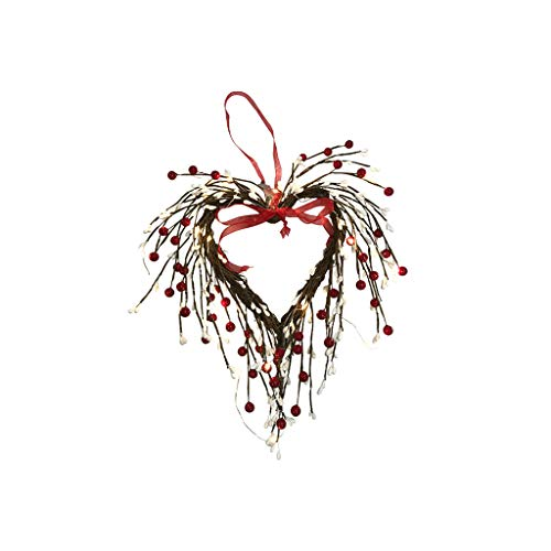 XuHang Heart Valentines Berry Wreath With Lights 20 Leds Battery Operated For Home Front Door Wedding Party Anniversary Decor Multicolor Front Door Ornaments