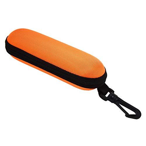 セミハードメガネケース フック付き めがねケース 眼鏡ケース ジッパー式 ファスナー 持ち運ぶ スリム 軽量 登山 釣り 旅行 アウトドア お洒落 おしゃれ カジュアル 04.オレンジ