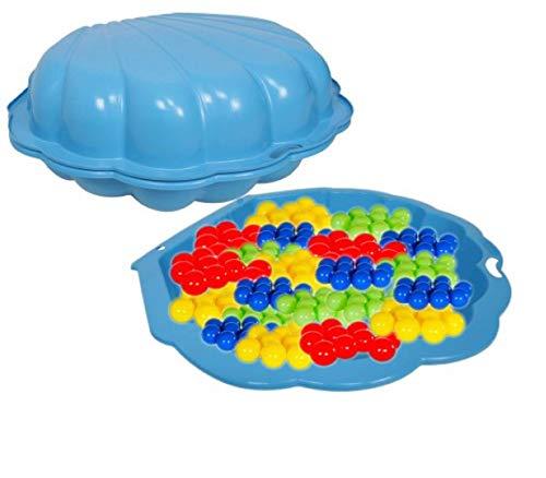 COIL Bac à sable 2 pièces coquillage d'eau + 100 balles colorées (bleu)