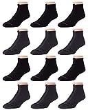 AND1 Men's Athletic Arch Compression Cushion Comfort Quarter Cut Socks (12 Pack), Size Shoe Size: 6-12.5, Black/Grey