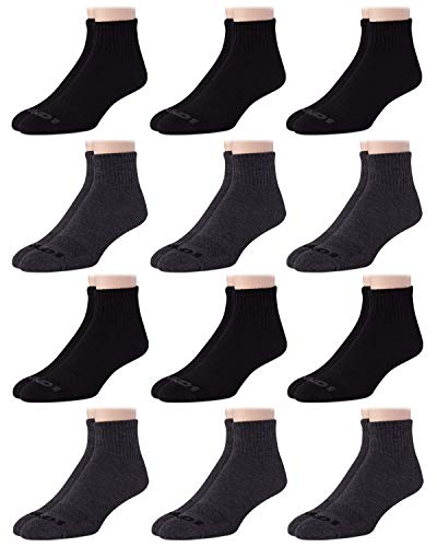 AND1 Men's Athletic Arch Compression Cushion Comfort Quarter Cut Socks (12 Pack), Size Shoe Size: 6-12.5, Black/Grey