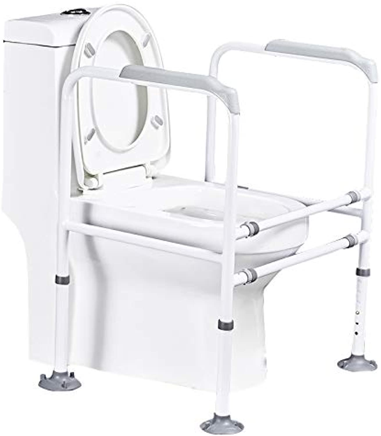 Pebegain Bathroom Height Adjustable Toilet Armrest, Elderly, Pregnant and Disabled Toilet Safety Auxiliary Handrails, Wear-Resistant Punch Free Booster Frame