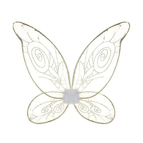 Alas Campanilla Nia Mujer Hada Bosque Verde Oro 50 cm de Ancho, 48 cm de Largo Accesorio Disfraz Campanilla Carnaval Cuentos Personajes Fantasa