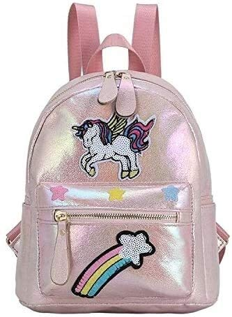 Social Liuzi School Gifts New Cartoon Cute Laser Sequins Unicorn Backpack Fashion Embroidery Animal Small Backpack Female Social Liuzi (Color : Light Pink)