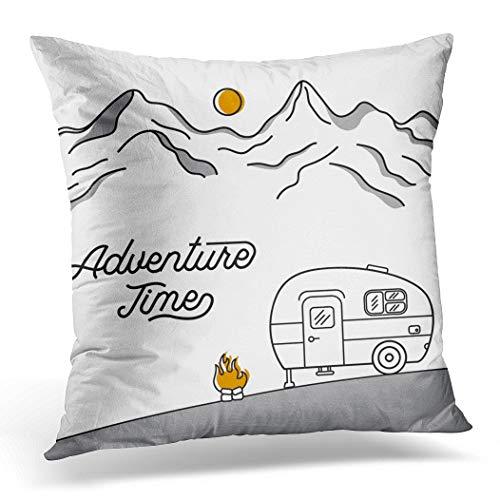 Topyee Funda de cojín estilo retro de estilo campista de montañas, estilo vintage, 45 x 45 cm, para decoración del hogar, funda de almohada cuadrada para sofá cama