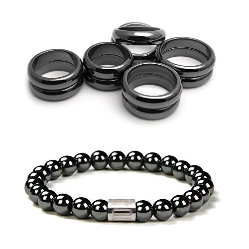 Morchic Magnetic Hematite Rings Bracelet Set, Energy...