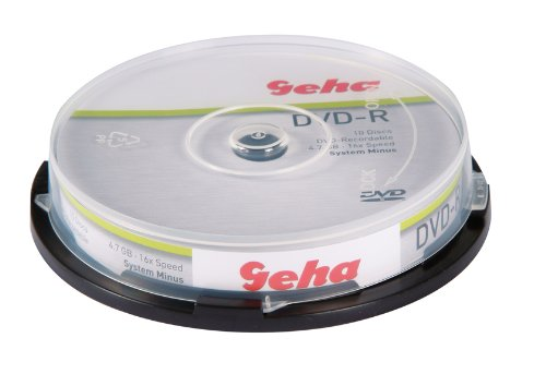 Geha DVD-R, 4,7GB, 10er CakeboxGeha DVD Recordable, 16xSpeed