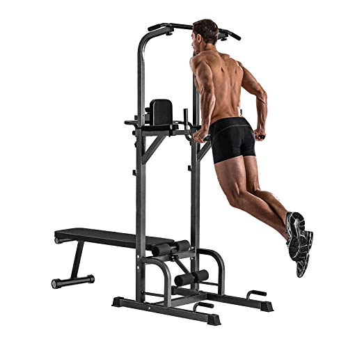 Power Tower with Bench Pull Up Bar Dip Station, Home Gym Adjustable Height Pull Up Tower Sit Up Bench Heavy Duty Multifunction Fitness Strength Equipment Training Workout Body Exercise