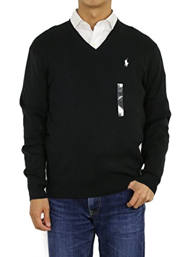 Polo Ralph Lauren Mens Pima Cotton V-Neck Sweater (X-Large, Black)