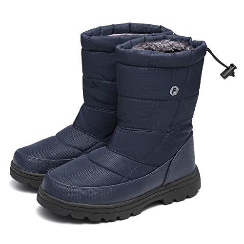Gracosy Bottes de Neige Hommes Femmes, Bottines Après Ski Imperméable Fourrure Chaude Chaussures de Pluie Randonnée Hiver Fourrée pour Pieds Larges Mollets Bleu 46