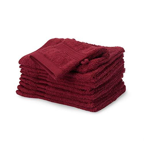 Lumaland Premium 10er Set Waschlappen Waschhandschuhe Baby Waschlappen Frottee 16 x 21 cm aus 100% Baumwolle 500 g/m² mit Aufhänger Kirsch