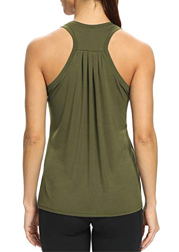 Bestisun Workout Tank Tops Loose fit Sleeveless Yoga Tops Racerback Muscle Tank Tops Summer Activewear Gym Dacne Tops Workout Exercise Clothes for Women Army Green M