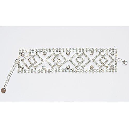 Miracle® Luxus Edelstahl Damen Armreif Armband mit volle glänzend Stein Kristallen Strass,Farbe weiß-gold