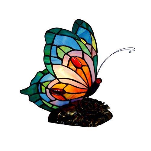 Lámpara de escritorio Mariposa estilo vitral acento lámpara de mesa luz de noche con pantalla de lámpara hecha a mano de 8.5 pulgadas de ancho dormitorio de la sala de estar junto a la cama e141