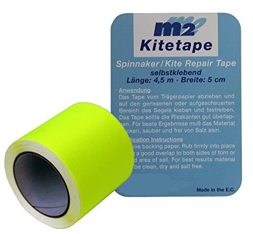 M2 Kitetape - selbstklebendes Spinnaker Reparatur Tape für dünnes Spinnaker Segel Textilien Flicken Band - Nylon 5cm x 4,5 Meter - leuchtgelb - neon-gelb strahlend gelb