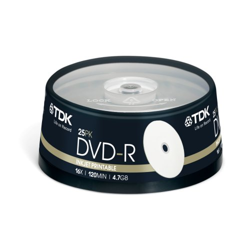 TDK T19838 Bedruckbarer DVD-R Rohling 4.7GB in Cakebox (25 Stück) 16x Speed PRINTABLE