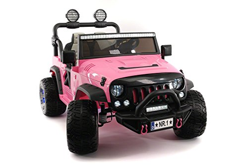 pink electric powered jeep