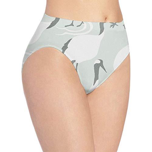 XCNGG Bragas Ropa Interior de Mujer 3D Print Soft Women's Underwear, White Crane Pattern Fashion Flirty Lady'S Panties Briefs XL