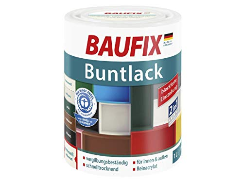 Baufix Buntlack 2in1 Lack & Grundierung Seidenmatt 1 Liter (creme weiß)