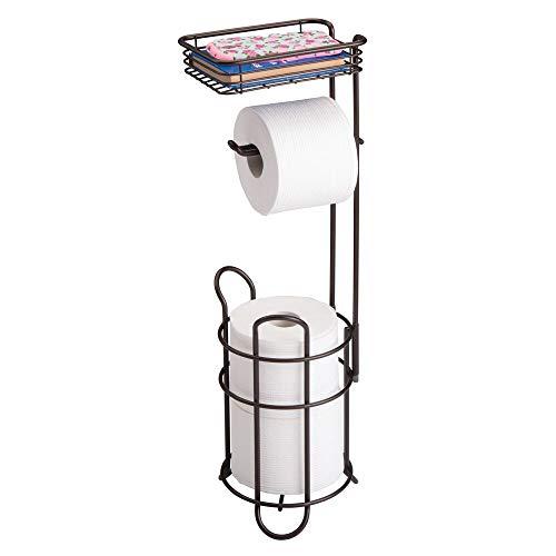 mDesign Toilettenpapierhalter – eleganter Papierrollenhalter aus Metall – WC-Rollen-Halter mit Regal – praktische Aufbewahrung fürs Badezimmer – bronze