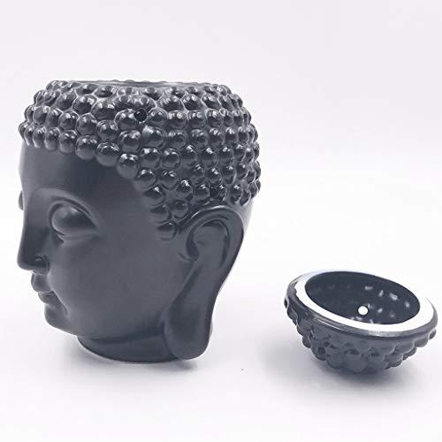 ZWS-Incensario Cabeza de Buda de cerámica Aroma Dispensador de Aceite Aromaterapia Quemador de Aceite Incienso Incienso de Buda Incienso Quemador de Incienso Portaincienso (Color : Black)