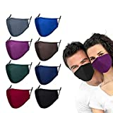 8 Pack Reusable Cloth Face Mask Washable with Adjustable Ear Straps & Nose Wire Comfortable Breathable Adult Cotton Face Masks,3 Ply Safety Mask for Women Men