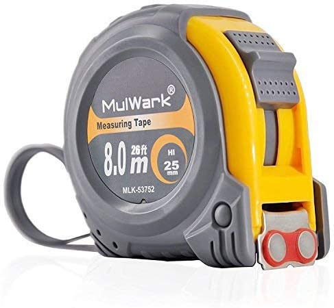 MulWark 26ft Measuring Tape Measure by Imperial Inch Metric Scale with Both-side Metal Blade,Magnetic Tip Hook and Sh...