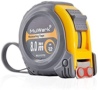 MulWark 26ft Measuring Tape Measure by Imperial Inch Metric Scale with Dual-side Metal Blade,Magnetic Tip Hook and Shock A...