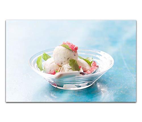 Acrylglasbilder 80x50cm Eis Vanille blau Teller Erdbeere Küche Acryl Bilder Acrylbild Acrylglas Wand Bild 14H141