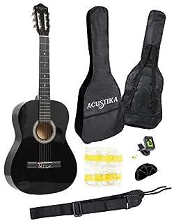 scheda chitarra classica acustika in legno 100 cm 6 corde in nylon 4/4 misura 39 nero