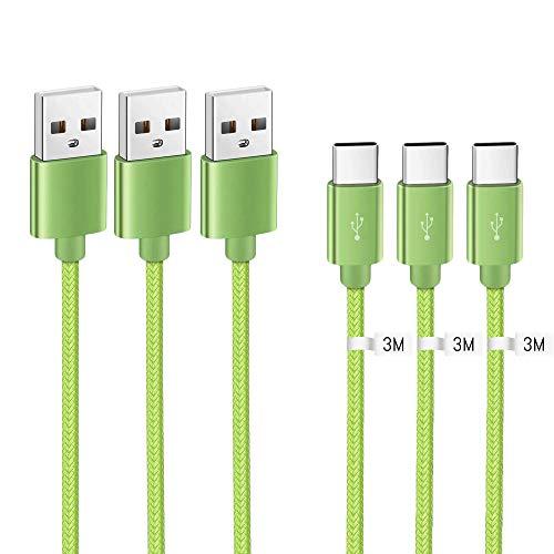 Kit Me Out Cable USB Tipo C para LG G5 [3M 3 Pack] 3A Cargador USB Tipo C Nylon Trenzado Cable USB C Carga Rápida y Sincronización de Datos - Verde