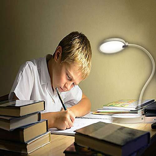 Flexo LED Escritorio, eeco Lámpara de Mesa USB Recargable Luz LED Regulable Control Táctil Portátil Batería Externa 4000mAh Incorporada Cuidado Especial para los Ojos