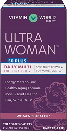 Vitamin World Ultra Woman 50 Plus Daily Multivitamin | Feat. Biotin, Vitamins B, C, D, E, Calcium, Zinc, Selenium, & Beta-Carotene | Health & Wellness Multi-Supplement for Women Over 50, 120 Caplets