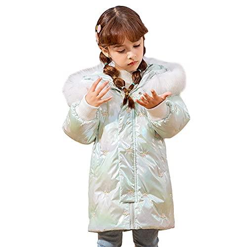 Chaqueta con acolchado largo de invierno para niños, chaqueta liviana de pescado lindo con capucha chaqueta de algodón chaqueta a prueba de viento a prueba de viento niña al aire libre abajo de la cha