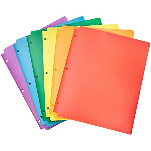 Amazon Basics Plastic 3 Hole Punch Folders with 2 Pockets, Multicolor Pack of 6