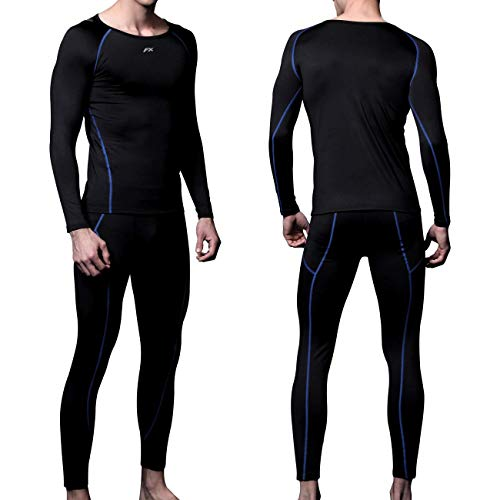 FITEXTREME Mens MAXHEAT Soft Fleece Long Johns Thermal Underwear Set Black L