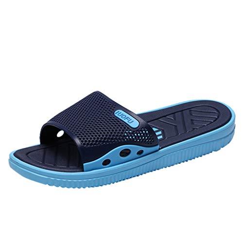 Skxinn Herren Badeschuhe Hausschuhe Slippers Sommer Slide Pantoletten Badelatschen Gartenschuhe Strand Indoor/Outdoor rutschfest Baden Gr 40-45(Blau,45 EU)