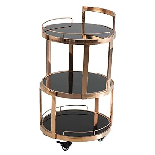 Carrito de cocina Carrito de barra de 3 niveles Carrito de bebidas Carrito de servicio de cocina Almacenamiento con ruedas Carrito de té Carrito de comedor Oro rosa