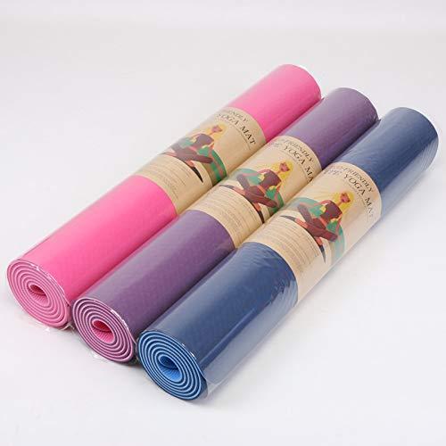 Yogamatte, zweifarbig, erweitert, TPE, umweltfreundlich, 183 & mal; 80 & mal; 6 mm, rutschfeste Yoga-Fitness-Matte, blau