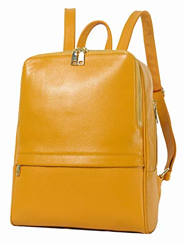 Coolcy Hot Style Women Real Genuine Leather Backpack Fashion Bag (Golden yellow)